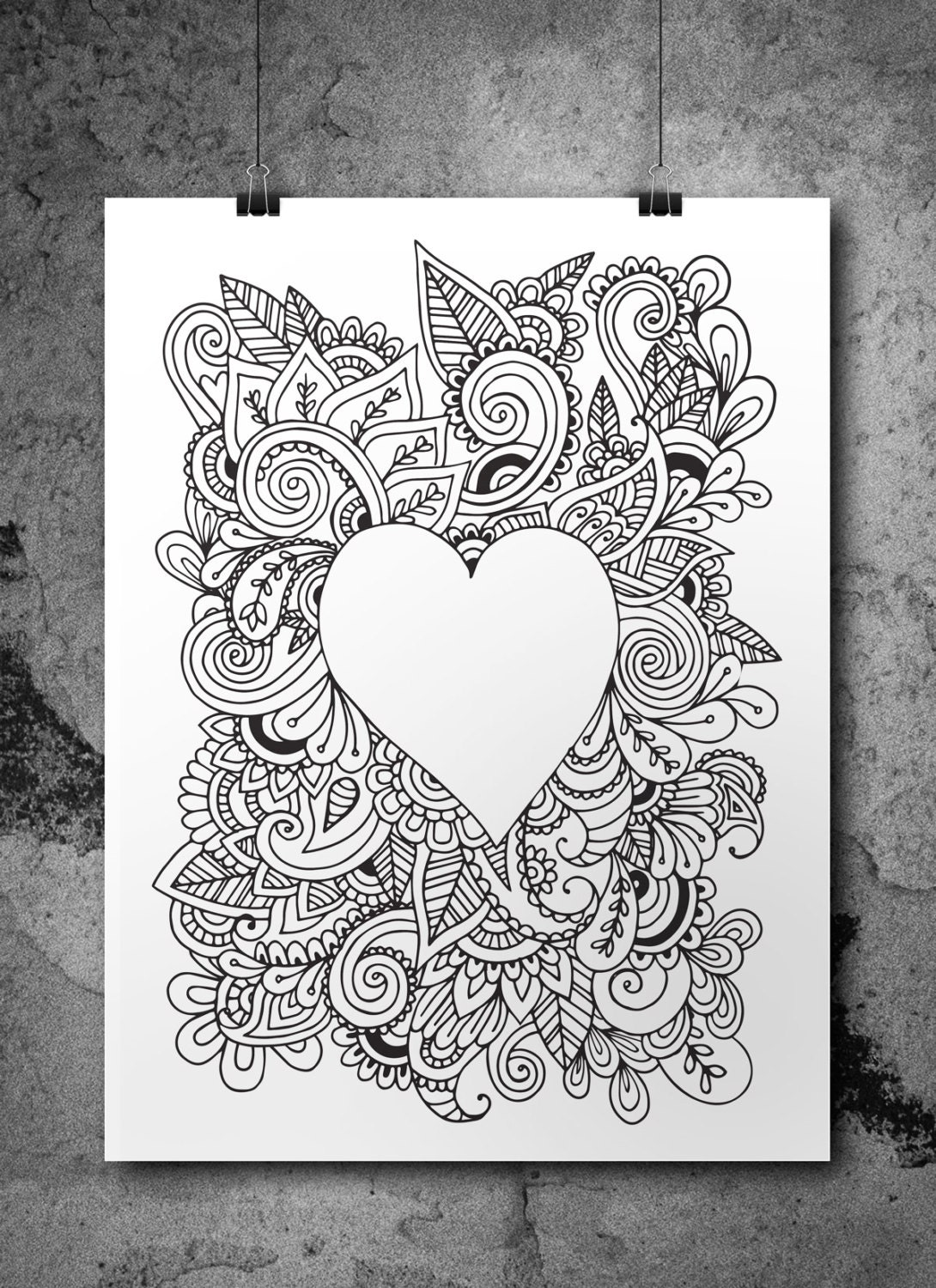 Love Heart Doodle Adult Colouring