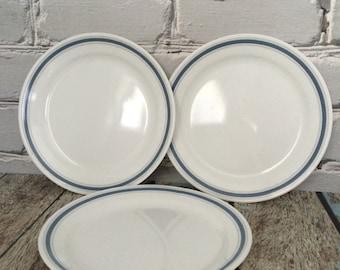 3 CORNING Comcor Salad/Lunch Plates Gray and Blue Rim #1-0058-14