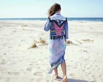 Boho denim jacket Bohemian lace Southwestern jacket festival pompons jacket aztec ethnic hippie gypsy jacket