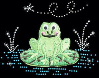 Frog on Lilly Pad WOMANS SHORT SLEEVE T Shirt Rhinestone Stud Embroidery Graphic on  15345