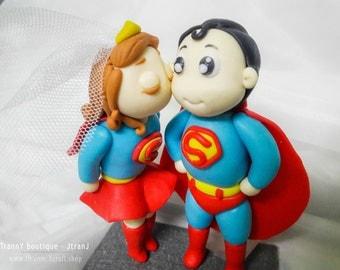 Super Girl Super Man wedding cake topper for birthday,Bride and Groom custom, clay doll, clay miniature, figurine, sculpey