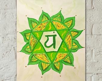 Chakra Painting - Chakra Art - Heart Chakra Painting -Small Green Chakra Painting -Chakra Home Decor - Yoga Studio Decor - Meditation Art