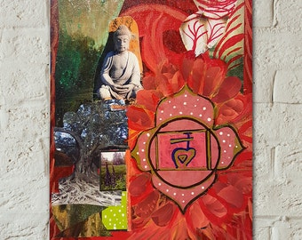 Buddha Art - Root Chakra - Original Painting  - Meditation Art - Yoga Art - Reiki Art - Yoga Studio Decor - Chakra Art - Zen Wall Art