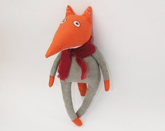 Linen Red Fox, Linen stuffed toy Fox, Children's room decor, Primitive Fox