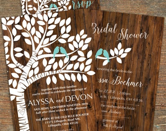 Lovebird's Wedding Invitation and Bridal Shower Invitation, Customizable, Printable