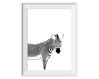 Zebra Black and White Minimalist Print