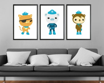 Octonauts Block Colour Minimalist Prints - Set of 3