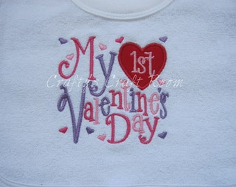 My First Valentine's Day Bib ~ My 1st Valentine's Day  Baby Girl's Bib ~ pull over head bib