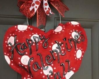 Handmade painted burlap Valentine's door hanger