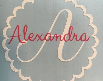Scalloped Circle with Initial & Name Vinyl Decal