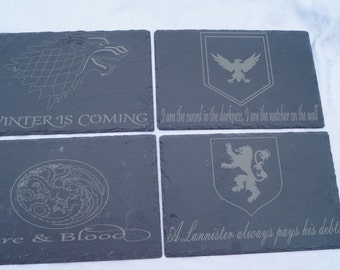 Game Of Thrones slate table mats set of 4, place settings, cheese platter, coasters, serving plate, game of thrones, coasters,  GOT, slate