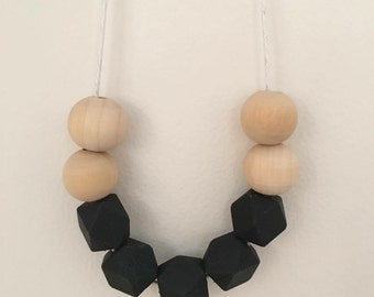 Wooden bead necklace // natural and black // hand painted