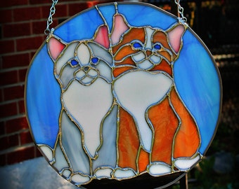Two Cats Round Stained Glass Panel