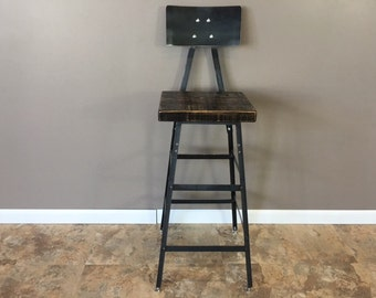 Reclaimed Urban Wood Seating Industrial Bar Stool Chair With /Steel Back-Industrial Modern