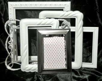 White Picture Frame Collection Shabby Chic Frames / Picture Frames Set  / Gallery Wall Frames / Silver picture Frames