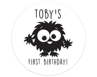 First Birthday Party Decorations | Monster Birthday Party Stickers | Monster Boy Birthday Party Decor | Printed Party Stickers | Australia