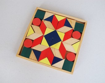 Vintage Colorful Wooden Building Block Geometric Trapezium, Square, Rectangle, Circle