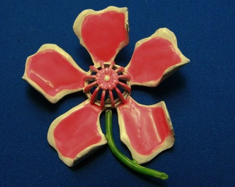 Vintage 1960s Hot Pink White and Green Enamel Flower Power Pin Brooch