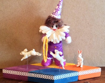 "Needlefelted Circus Clown- ""Wild Bunny Tamer"" - Custom Circus Diorama"