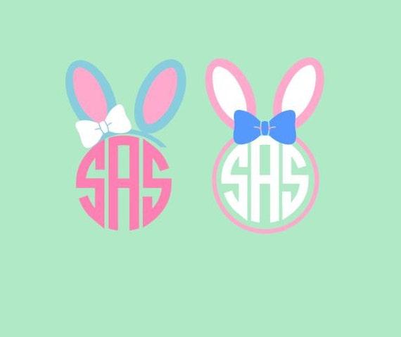 bunny ears monogram and monogram topper svg studio 3 dxf