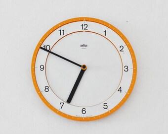 Original BRAUN abk 30 quartz wall clock Dietrich LUBS Dieter Rams modernism YELLOW