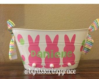 Three Bunnies Bucket with Name  | Easter Bucket | Easter Basket | Personalized Bucket | Gift Basket | Kids Easter | Easter Bunny