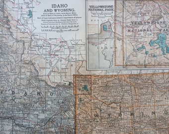 1903 IDAHO & WYOMING Original Large Antique Map - Wall Map - Home Decor - Cartography - 11 x 16 Inches - Detailed Map - Geography
