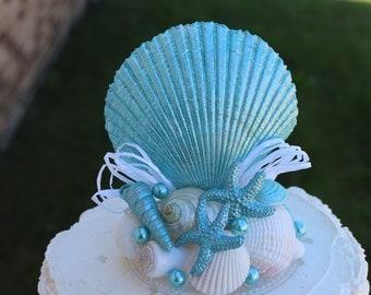 Turquoise Seashell Wedding Cake Topper/ Beach Themed Topper