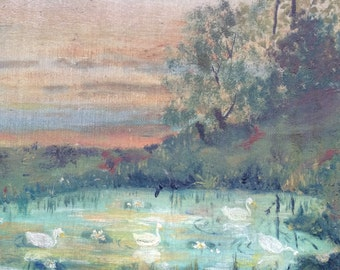 Beautiful Antique Duck Pond Landscape Painting Very Old