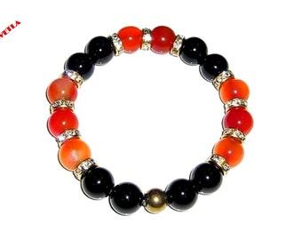 Carnelian Bracelet, 10mm Red Bead Bracelet, Onyx Bracelet,Black Onyx Bracelet 10mm,Bracelet Womens,Stretch Beaded Bracelet ,Charm Bracelets