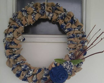 Handmade royal blue wreath
