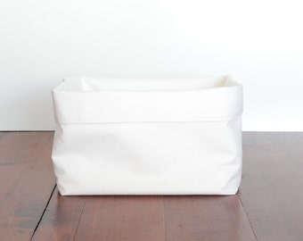 White Fabric Storage Basket, Nursery Storage Basket, Storage Bin, Large Storage, Change Table Storage Basket, Storage Sack