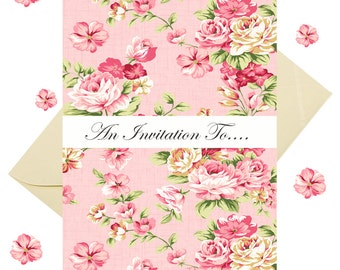 8 Vintage Style Floral Invitations With Cream Hammered Effect Envelopes Tea Party Invites, Birthday Invites, Hen Party Invites, Shabby chic