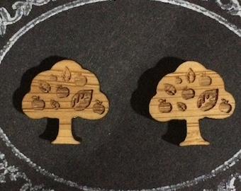 Lasercut Bamboo 'Apple Tree' Stud Earrings