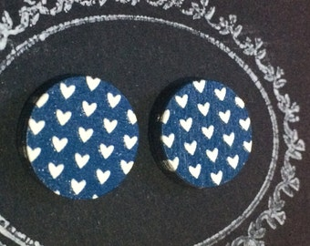 Embossed 'Heart' Wood Cut Stud Earrings