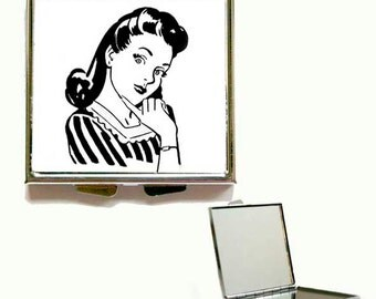 Retro Vintage Art Deco Shabby Chic Square or Heart Shape Compact Mirror, Handbag mirror, Pocket Mirror, Accessories, Present