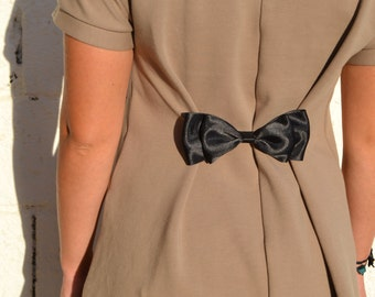 Belt, pliers for bending, adorned with a black satin bow - Martingale removable