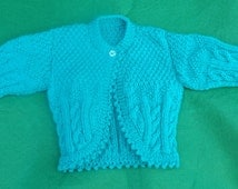 "Baby Bolero, Knitted to 20"" Chest, Hand knitted Teal Cabled Bolero, Baby Shrug, Baby Shower Gift, Christmas or Birthday Gifts, Baby Knits"