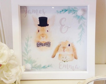 Personalised Custom Bespoke Wedding Gift Bride and Groom Bunny Woodland Whimsical Framed Watercolour Picture Bridal Shower Unique