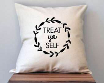 Parks and Recreation Treat Yo Self Pillow Cover, 18 x 18 Pillow Cover, Parks and Recreation Pillow Cover, Mother's Day gift
