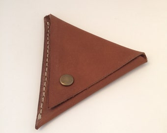 Handmade brown leather triangle coin pouch purse