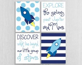 Space Nursery Art Print Set - Rocket, Explore, Discover - Space Wall Art - Space Nursery Decor