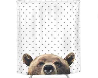 bear shower curtain dotted pattern decorative bath animal photo children bathroom