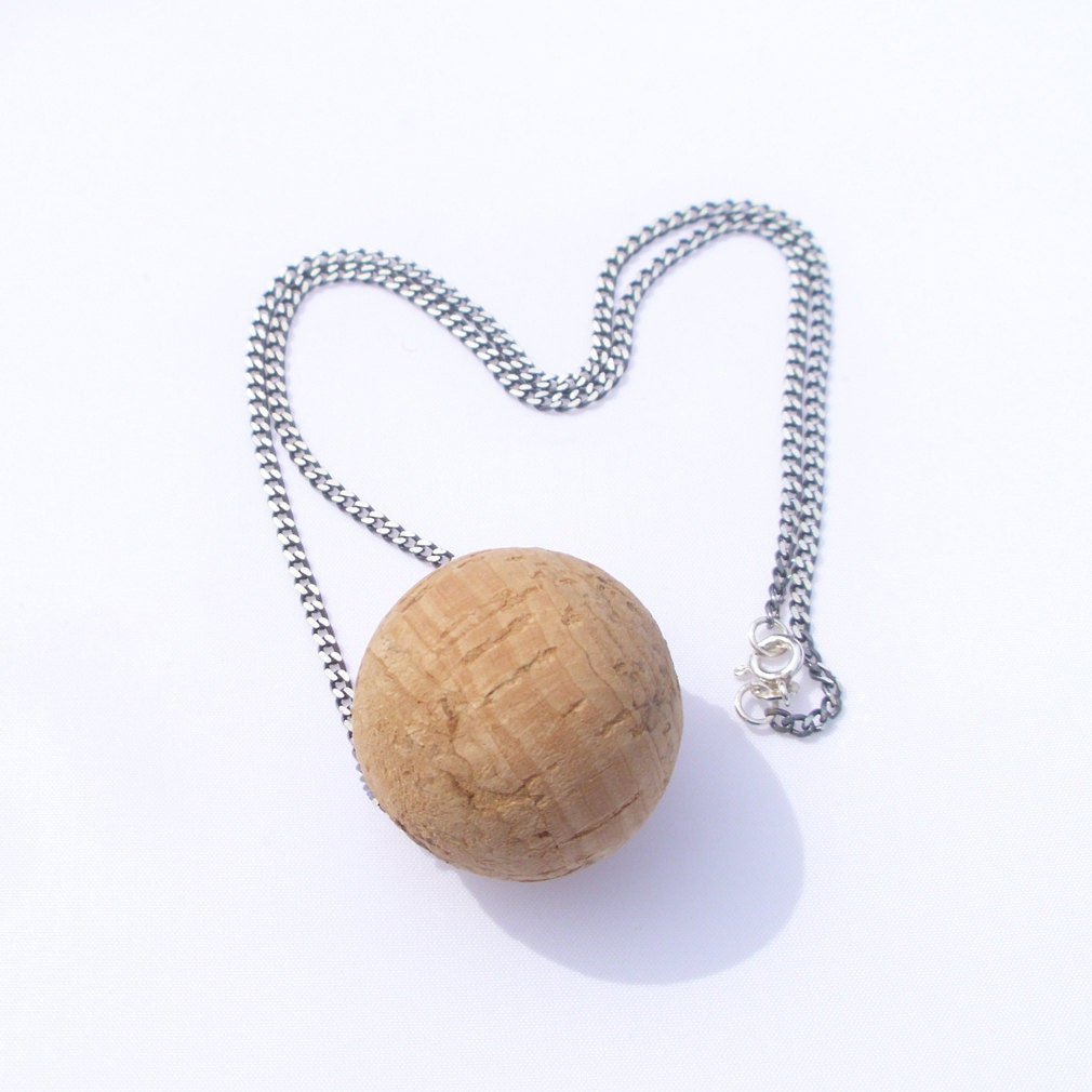 Cork Beads: Silver Chain With Cork Bead