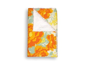 Burp Cloth <<Amber Rose Bouquet>> Baby/Toddler/Drool//Yellow//Mint//Orange//Flowers//Floral//Rose