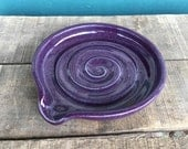 Spiral Purple Pottery Spoon Rest