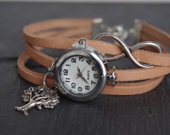 Poignet montre Bracelet montre infini Bracelet Karma de l'arbre de vie voir les dames filles montre cadeau pour sa femme montre poignet à la main