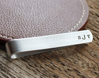 Personalized Tie Bar or Skinny Tie Bar - Hand Stamped Men's Tie Clip Gift - Secret Message, Double Sided