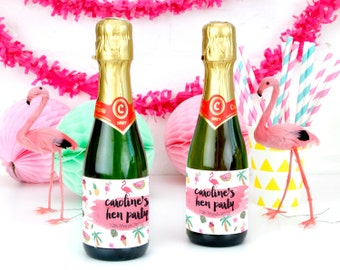 Personalised Tropical Hen Party Bottle Labels