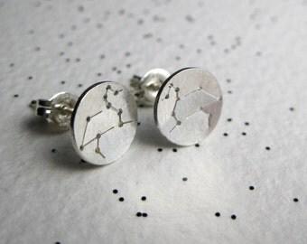 Zodiac Constellation Stud Earrings - Sterling Silver